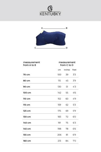 tabla de medidas manta kentucky